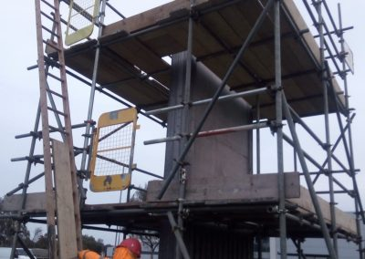 Tesco's King's Lynn Petrol Forecourt Sign scaffolding installed by Hercules